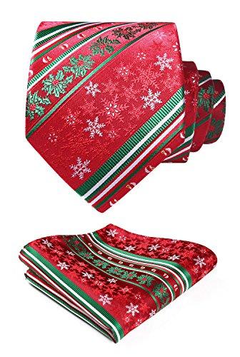 Tie Set Green Pocket HISDERN Necktie Christmas Men's amp; White Woven Square Party Red fHHBEPqn