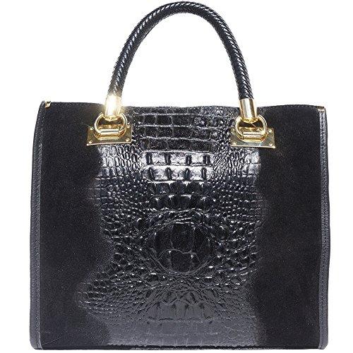 Bolso de mano en relieve mock-croco hecho en cuero de becerro 7004 Negro
