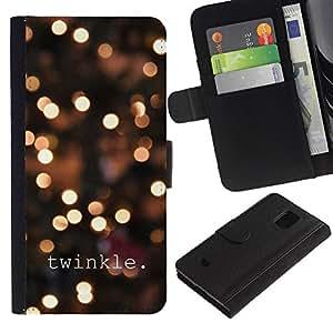 KingStore / Leather Etui en cuir / Samsung Galaxy S5 Mini, SM-G800 / Luces de la ciudad Texto brillante Noche de Blur