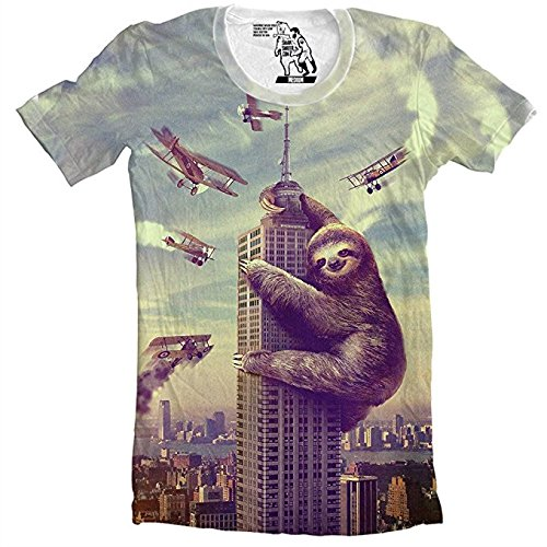 Slothzilla Tshirt Sloth Climbing Building Funny Tee for Men All over print shirt