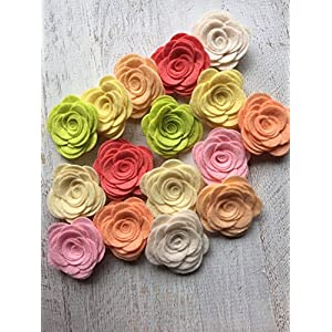 16 Wool Felt Flowers - Large Posies Light & Airy Collection 27