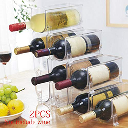 Stackable Wine Bottle Storage Rack, ​Plastic Free-Standing Water Bottle and Wine Rack Storage Organizer for Kitchen Countertops, Table Top, Pantry, Fridge​(2 Packs)
