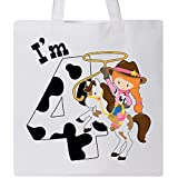 Inktastic - I'm Four-cowgirl riding horse birthday Tote Bag White 2ca0f