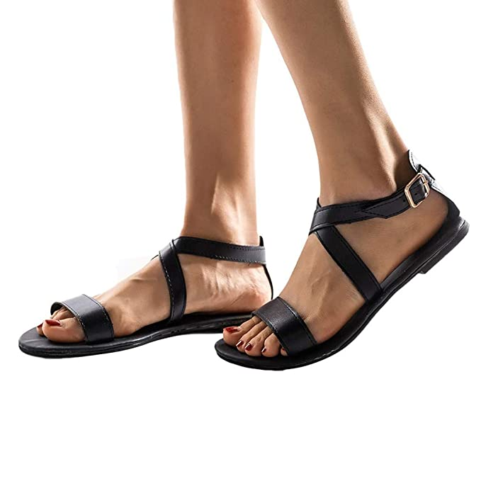 35ab4fa92f5234 Women Summer Flat Sandals Gladiator Open Toe Ankle Strap Buckle Strap Shoes  Beach Sandal (Black