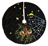 Handmade 11'' Felt Applique Bat Jack-O Halloween Tree Skirt Small Tabletop Size