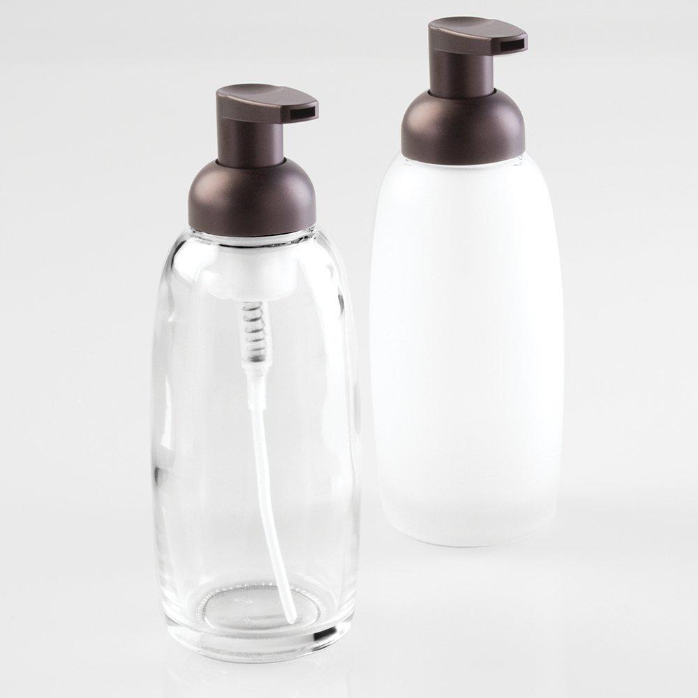 Amazon.com: mDesign Glass Foaming Soap Dispenser Pump 2 pc Bathroom ...