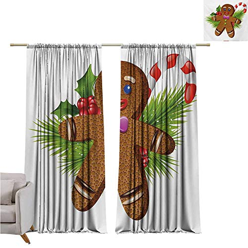 (RuppertTextile Gingerbread Man Fashion Curtain Cute Tasty Pastry on Coniferous Branches Candy Cane and Holly Berry Noise Reducing W108 x L72 Brown Green Red)