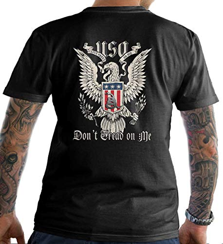 Don't Tread on Me. Eagle with Shield and RATT Black/3XL Gildan. T-Shirt.