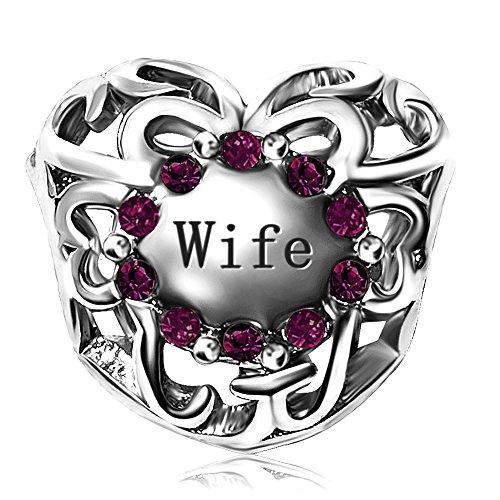 JMQJewelry Love Wife Heart Birthstone Purple February Charms Beads for Bracelets
