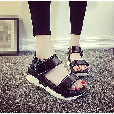 RUGAI-UE Las mujeres sandalias PU CALZADO CASUAL Confort High Heels,Blanca,US6 / UE36 / UK4 / CN36 Black