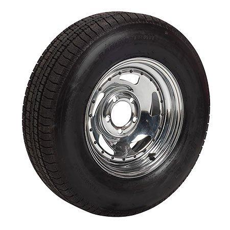 Signet ST205/75R15 Radial Trailer Tire LR C w/15x6, 5x4.5 Chrome Blade Trailer Rim