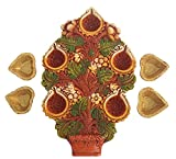Craft Art India Handmade Earthen Clay / Terracotta Decorative Dipawali / Diwali Diya / Tealight / Oil Lamps for Pooja / Puja