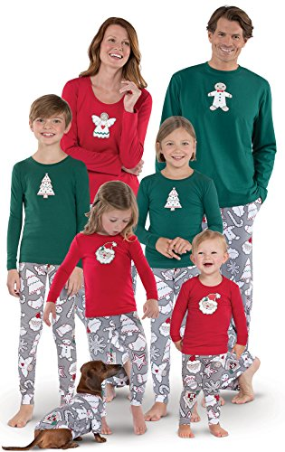 PajamaGram Color Me Cookies Matching Family Pajamas, Red, Women MED (8-10)