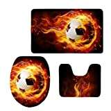 FOR U DESIGNS Cool Fire Soccer Printing Modern Home Bathroom Rug Set Soft Flannel Sport Style