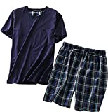 Amoy madrola Men's Cotton Soft Sleepwear/Short Sets/Pajamas Set SY227-Round Navy-L