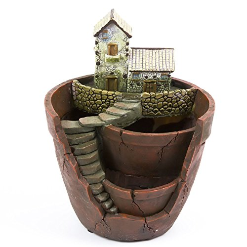 Creative Plants Pot LETOOR Flower Plants Succulent DIY Container Decorated with Mini Hanging Fairy Garden and Sweet House for Holiday Decoration and Gift