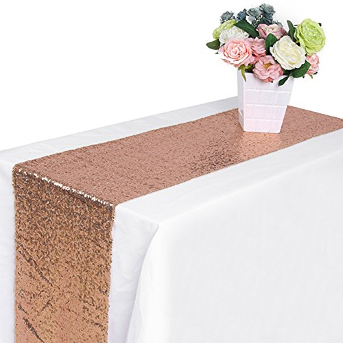 Rajahubri Sequin Table Runners Inch Luxury Shiny Rose Gold Table Runner Premium Quality Sequin Runner Party Supplies Fabric Decorations For Wedding Birthday Baby Shower(13