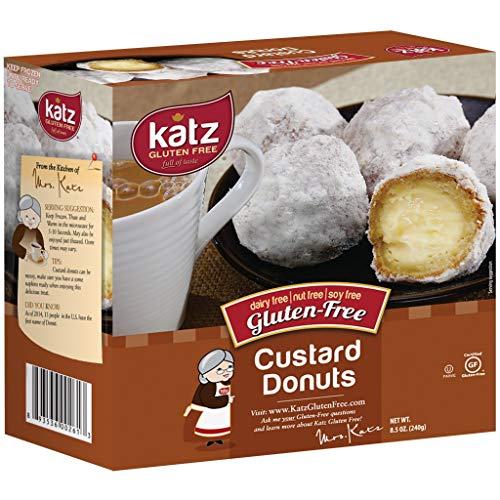 Katz Gluten Free Custard Donuts | Dairy, Nut, Soy and Gluten Free | Kosher (1 Pack of 4 Donuts, 8.5 Ounce)
