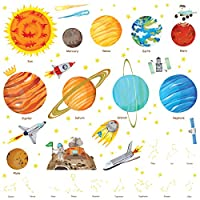 DECOWALL The Solar System Kids Wall Stickers Wall Decals Peel and Stick Removable Wall Stickers for Kids Nursery Bedroom Living Room (1501/S 8018)