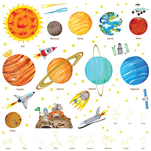 Decowall DA-1501 The Solar System Kids Wall Stickers Wall Decals Peel and Stick Removable Wall Stickers for Kids Nursery Bedroom Living Room (Large) -