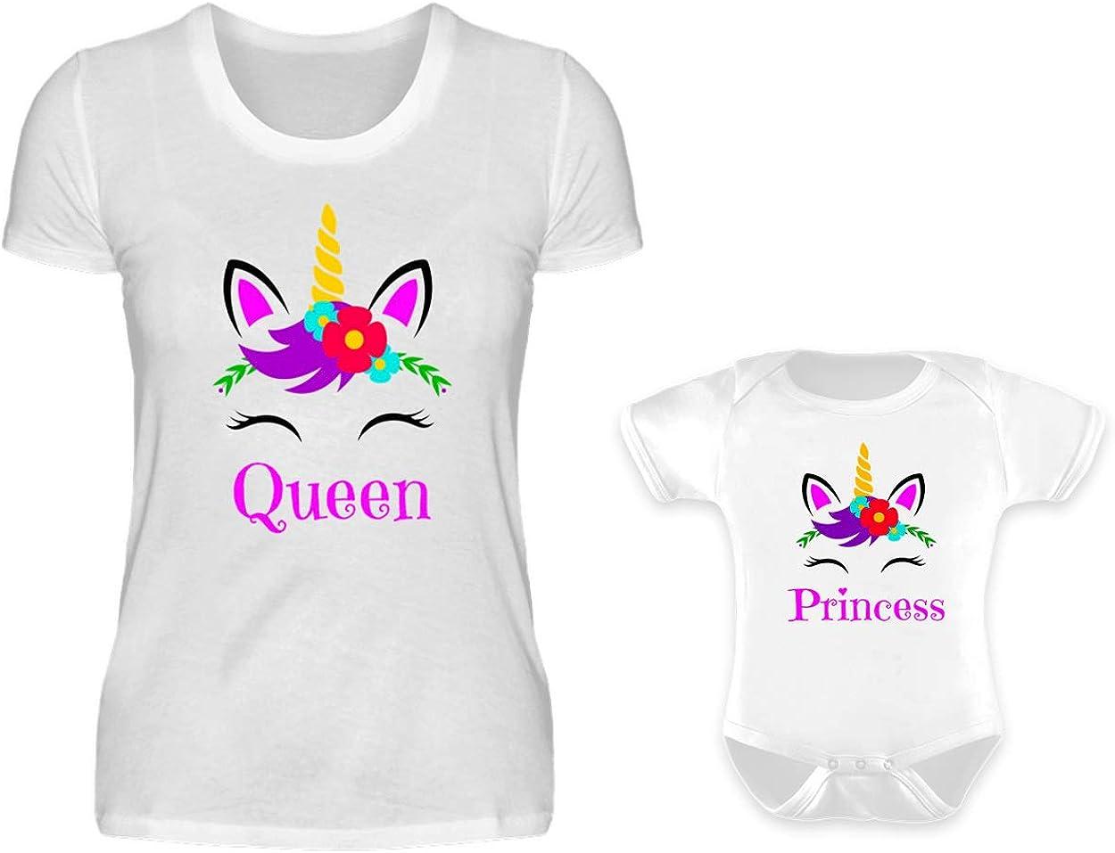 Mutter Baby Partnerlook Tshirt Und Baby Body Strampler Set Einhorn Queen Und Princess Rundhals Mama Kind Partner Look F/ür Damen Und M/ädchen