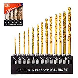 "INTOO Drill Bit Set 13 Piece 1/16""-1/4"" Hex Shank Quick Change Impact Driver Bit Set for Metal,Wood and Plastic Titanium Drill Bits Set"