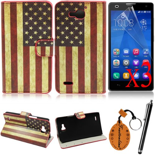 Traitonline 6IN1 #7 Colorful Pattern Leather Case Back Cover For Huawei Honor 3X Protective Skin Shell Pouch With Credit Card Slots+3*Screen Protector+Touch Screen Pen +keyring gift