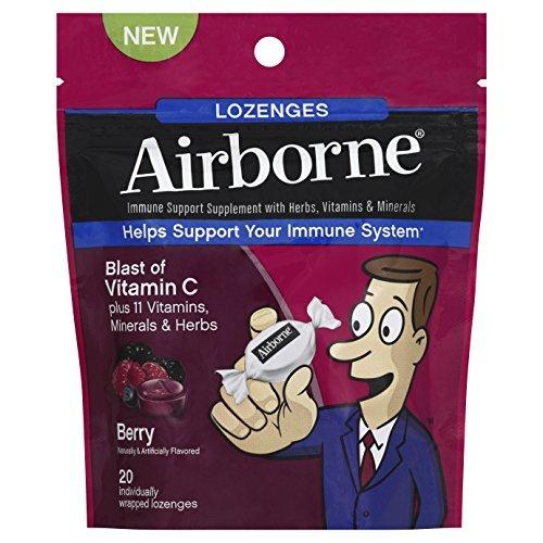 Airborne C Vitamin (Airborne Vitamin C 1000mg Immune Support Supplement, Lozenges, Berry Flavor, 20 Count (Pack of 3))