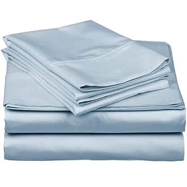 True Luxury 1000-Thread-Count 100% Egyptian Cotton Bed Sheets, 4-Pc King Light Blue Sheet Set, Single Ply Long-Staple Yarns, Sateen Weave, Fits Mattress Upto 18'' Deep Pocket