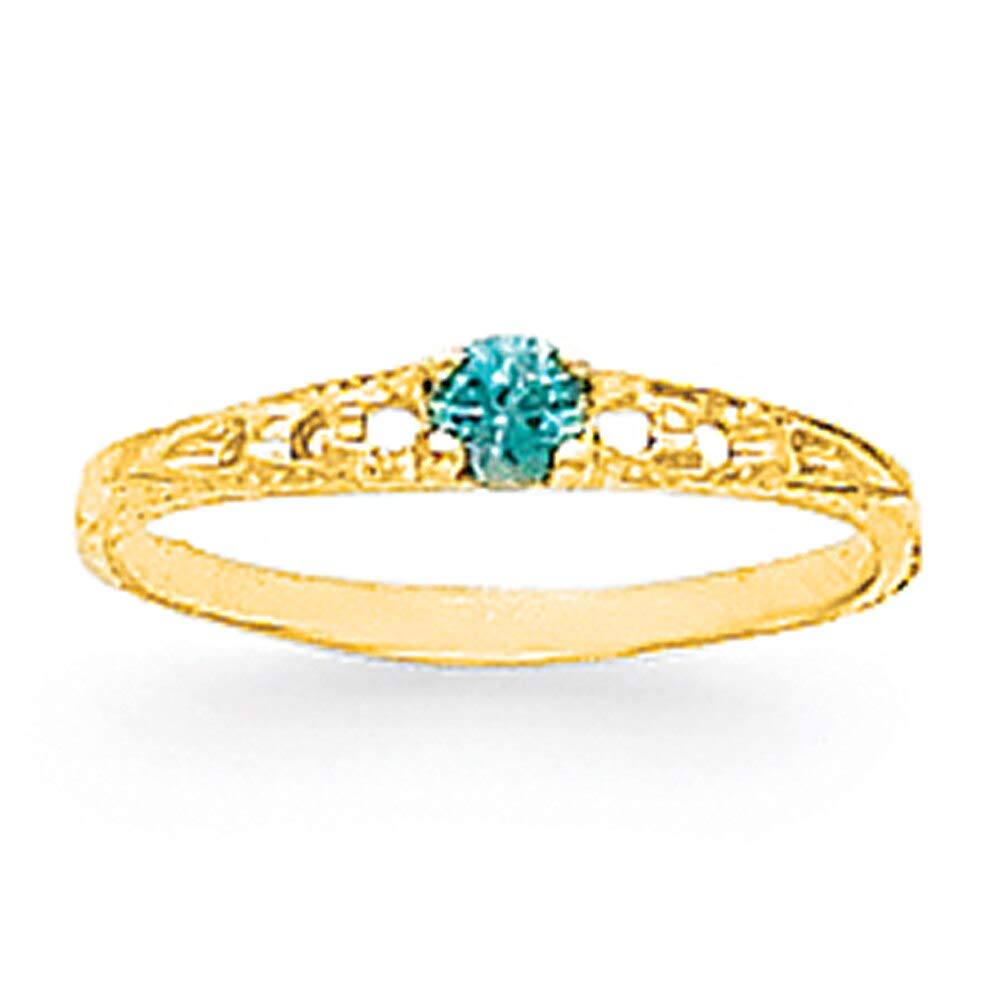 Lex /& Lu 14k Yellow Gold Madi K 3mm Blue Topaz Birthstone Baby Ring