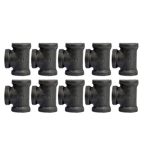 10 Pack 1/2'' Inch Tee Pipe Fitting Cast Iron Black DIY Threaded Pipe Industrial Steampunk Vintage Retro Decor Furniture DIY Wall Industrial Plumbing by Brooklyn Pipe