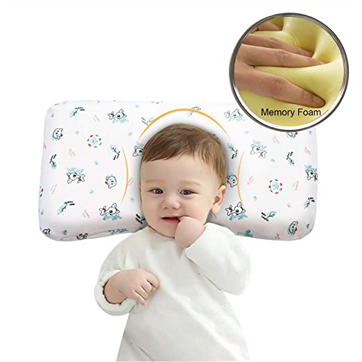 Baby Pillow Anti Flat Head,Mkicesky Memory Foam Infant Pillow for 0-2T Baby Girl and Boy