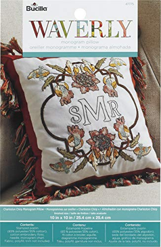 Charleston Plaid - Bucilla 47775 Stamped Embroidery Monogram Decorative Pillow Kit, Charleston Chirp