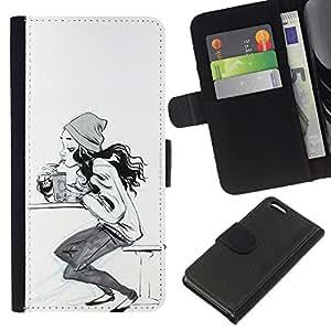 Stuss Case / Funda Carcasa PU de Cuero - Sk8 Sketch Mujer Blanco Negro - Apple Iphone 5C