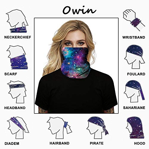 OWIN 2Pcs Unisex Multifunctional Headwear Face Mask Headband Neck Gaiter