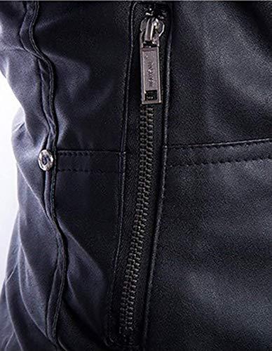 Ocio Cuero De Motorista Hombres De Chaqueta con Schwarz De Cuero Chaqueta Genuino Slim Soporte Cuero Sintético Collar De Fit O De Negro Geteppt Marrón Chaqueta Moderno Los Biker De 5vwHPHq7