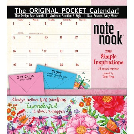 "Wells Street by LANG - 2018 Note Nook Wall Calendar - ""Simple Inspirations "" Artwork by by Debi Hron - Original ""Pocket Calendar"" - 11.75"" x 13.25"""