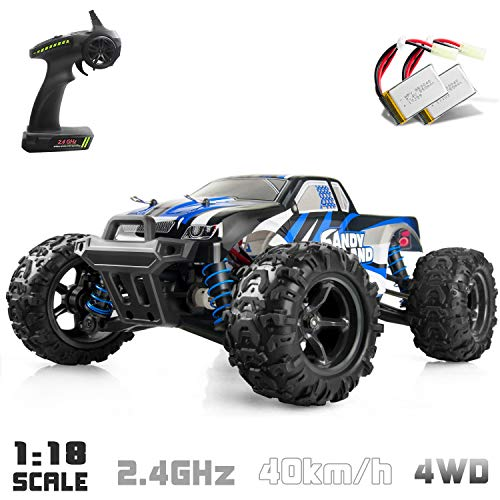 IMDEN Remote Control Car, Terrain RC Cars, Electric Remote Control Off Road Monster Truck, 1:18 Scale 2.4Ghz Radio 4WD Fast 30+ MPH RC Car, with 2 Rechargeable Batteries, Blue
