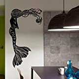 Mermaid Wall Decal Hair Girl Sea Ocean Bathroom Spa Salon Nursery Kids Baby Girls Room Design Interior Mermaid D
