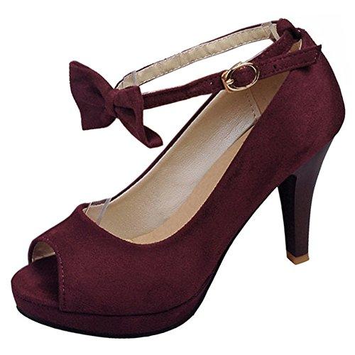 Sandals Bow Strap 6 TAOFFEN Women Claret Shoes Ankle wPxTqqZ