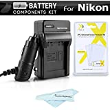 Battery Charger Kit For Nikon Coolpix S3700, S2800, S2900, S33, S7000, S6900, S4300, S3300, S5200, S6500, S3200, S4200, S32 Digital Camera Includes Ac/Dc 110/220 Rapid Travel Charger For Nikon EN-EL19 Battery + LCD Screen Protectors + MicroFiber Cloth