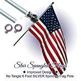 Flag Pole - 6 Foot Silver Brushed Aluminum No Tangle Spinning Flagpole with Silver Globe Built Tough and Beautiful to Fly Grommeted or Sleeve Flags Proudly