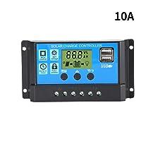 HITECHLIFE Controlador de Carga Solar El Controlador de Panel Solar PWM de 12V / 24V con Pantalla LCD Grande Proporciona Múltiples Protecciones