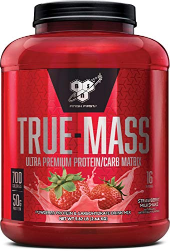 BSN TRUE-MASS Weight Gainer, Muscle Mass Gainer Protein Powder, Strawberry Milkshake, 5.82 Pound
