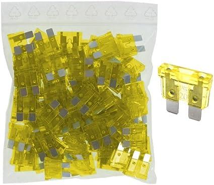 100 x 20 A Ampere Steck Sicherung Flachstecksicherungen PKW LKW KFZ gelb