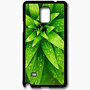 Unique Design Fashion Protective Back Cover For Samsung Galaxy Note 4 Case Green Plants Water Drops Nature Black