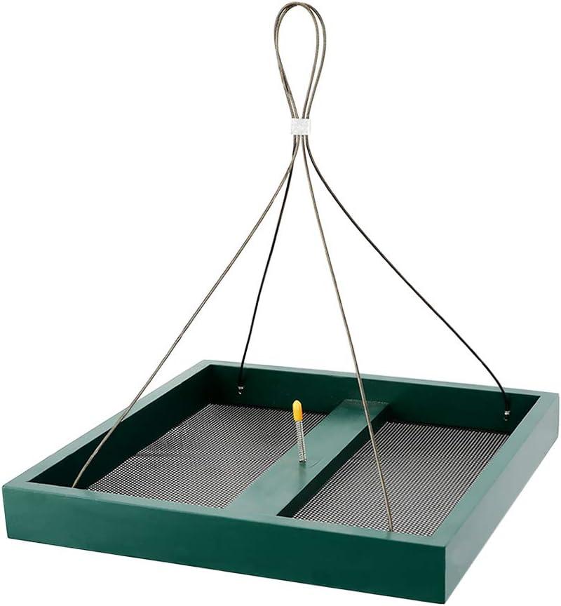 Solution4Patio Homes Garden Platform Bird Feeder, Hanging Tray Squirrel Feeder, Maximum Bird Viewing, Large Capacity, Easy to Clean & Refill, #B116A00