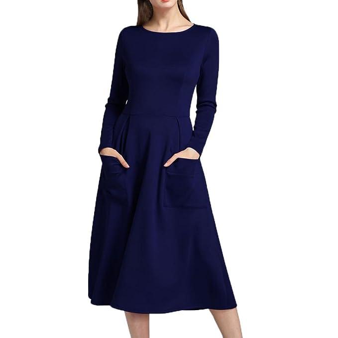 Vestido de mujer, Manadlian Vestidos sueltos de manga larga de mujer Bolsillos Vestidos (S