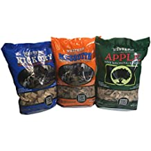Perfect Western BBQ Smoking Wood Chips Variety Pack - Bundle (3) - Most Popular Flavors - Apple, Hickory & Mesquite