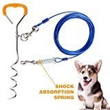 HaveGet 30 Feet Tie Out Cable Chew- Proof Dog Stake with Durable Spring Rust- Proof Training Tether Reflective Training Pet Lead Great for Playing, Camping and Backyard (Blue)